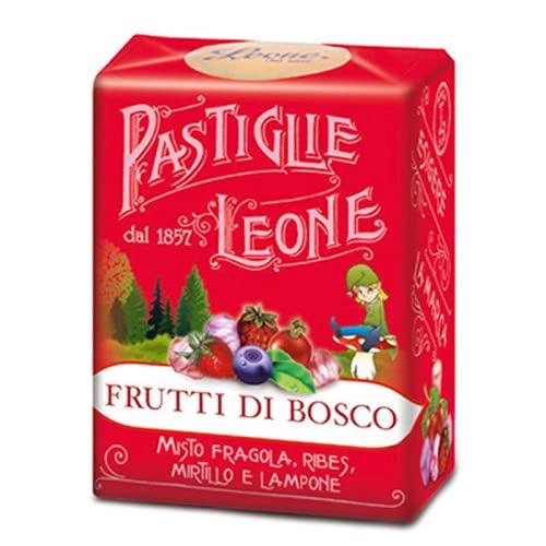 Leone Pastiglie Frutti di Bosco Misto Fragola, Ribes, Mirtillo e Lampone - 1 x 30 Grammi
