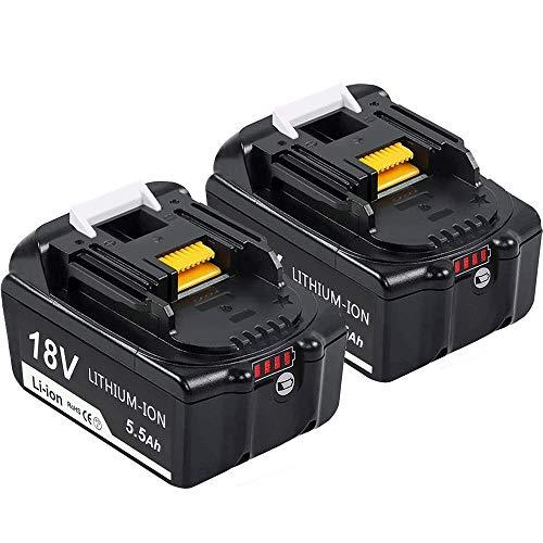 [2 Stück] DOSCTT BL1860B 18V 5.5Ah Lithium-ion Akku Ersatz für Makita BL1850B BL1840B BL1830B BL1850 BL1840 BL1830 BL1815 194205-3 194309-1 LXT400 Werkzeugakkus mit Indikator