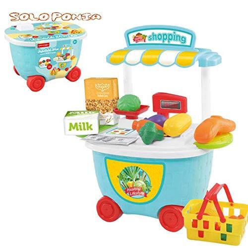 LEIXNDPLBO Fantasiespel Mini Supermarkt Kassa Winkelwagen Speelgoed Set Cadeau Groente Verkopen Spel Trolley doen alsof, 506