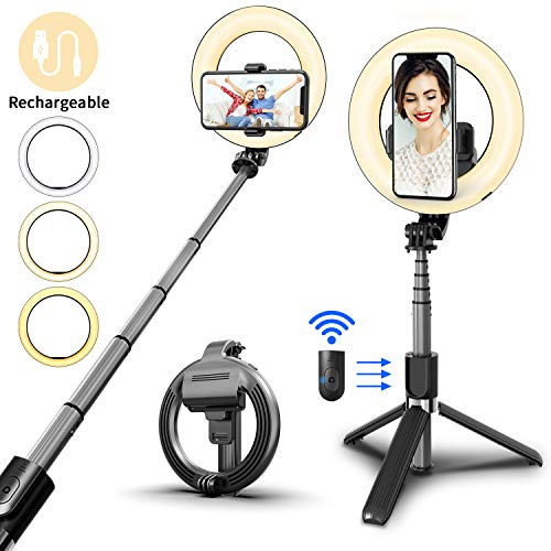 """SYOSIN Selfie Ring Light with Tripod Stand and Phone Holder, 6.3"""" Rechargeable LED Dimmable Ring Light Selfie Stick Tripod with Bluetooth Remote Control for Live Stream,Makeup,YouTube Video"""