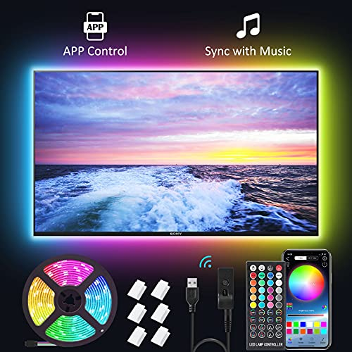 New Fi LED Strip Lights,16.4ft Tv Led Backlight for 32-75 inch TV, PC, Mirror with 40 Keys Remote and APP Control, RGB 5050 DIY Colors TV LED, 28 Scene Modes, Music Sync