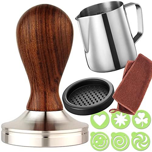 Practimondo Espresso Tamper Set - 51mm Tamper - Frothing Pitcher, Tamper and Espresso Accessories - Premium Barista Espresso Hand Tamper Set (51mm, Wooden Handle)