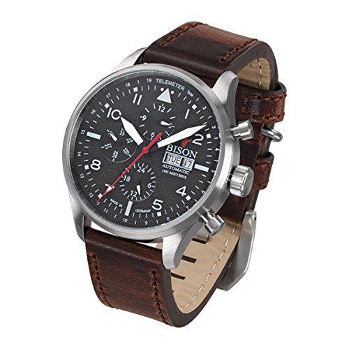 Bison Herren Uhr Armbanduhr Automatik Bison No. 2 BI0002BKWH Leder