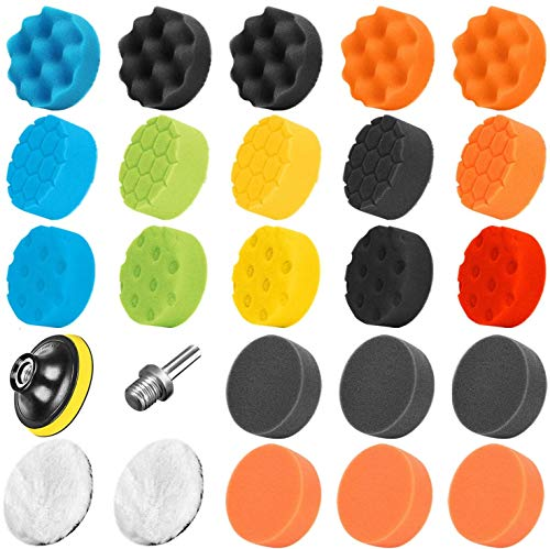 recyco 25PCS Polishing Pads for Drill, Car Buffers and Polishers Compound Sponge Drill Attachment Kit with Polishers, Polishing Pads Polishing Pads for Car Polishing, Sanding, Waxing