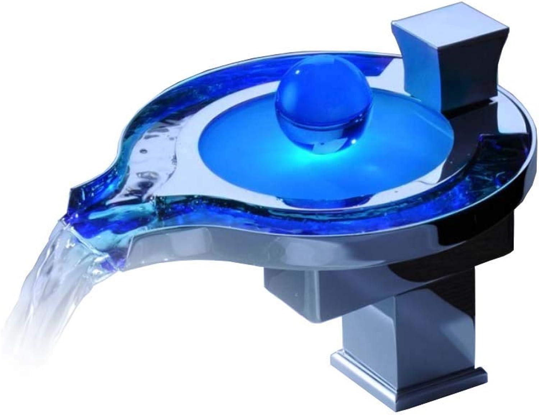 YJZ Abgerundete LED Waschbecken Wasserhahn Wasserhahn Einlochmontage Messing 1-Griff Wasserhahn Bleifrei Gesundheit Wasserhahn Waschtischmischer, Chrom