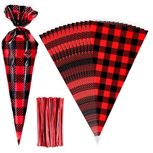 Yisong 150 Pieces Christmas Cone Bags Christmas Cellophane Bags Buffalo Plaid Candy Bags Christmas Party Bags with 150 Piece Twist...