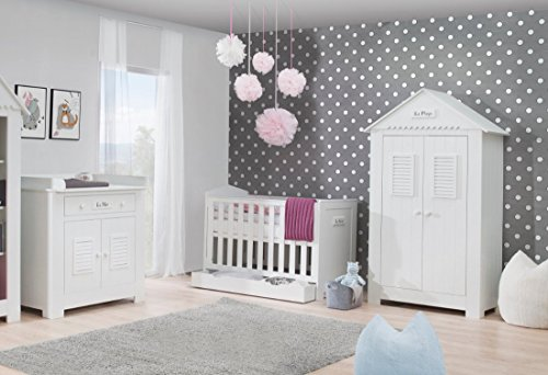 Babyzimmer Kinderzimmer SAINT-TROPEZ weiß MDF, Komplettset A, Bett Schrank Kommode