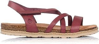 Yokono Bari 002 VAQUETILLA Nuez Marron Clair Cuir Boucle Compensé Plateforme Sandale
