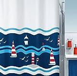 Spirella Anti-Schimmel Duschvorhang Clipperi Anti-Bakteriell, waschbar, wasserdicht Polyester 180x200cm