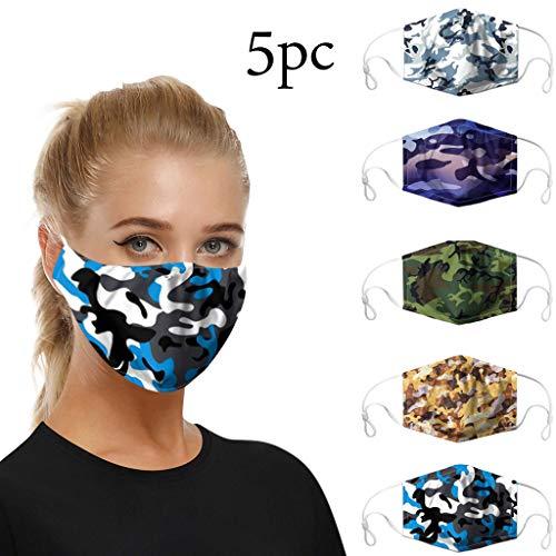5 Stück Mundschutz waschbar mit Motiv, mundschutz mit Camouflage atmungsaktive mundbedeckung Stoff Anti Staub mundschutz Wiederverwendbare (Mehrfarbig)