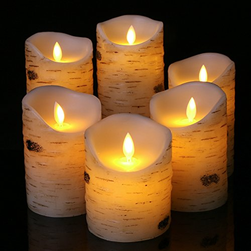 flameless led Candles Set of 6 Birch bark Pillar Candle Remote Control with 10 Key Wax Flickering Light Pillar Battery Operated Votive Halloween Decoration
