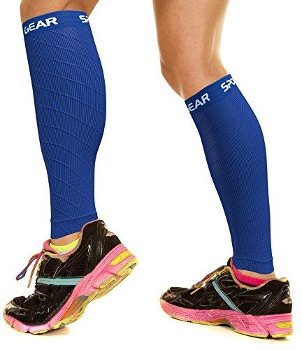 Physix Gear Sport Medias Compresión Hombre y Mujer, las Mejores Pantorrilleras Running Para Mejorar la Circulación, Perneras Ciclismo Para Recuperar los Músculos, 1 Par, L/Xl, Azul