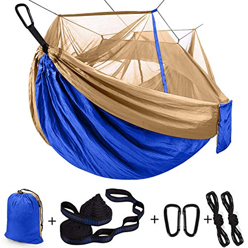 Single & Double Camping Hammock with Net Mosquito/Bug | Included Tree Straps and Carabiners, Parachute Nylon | Easy Assembly, Lightweight, Portable | Indoor Outdoor Backpacking - Full Size, Blue Tan
