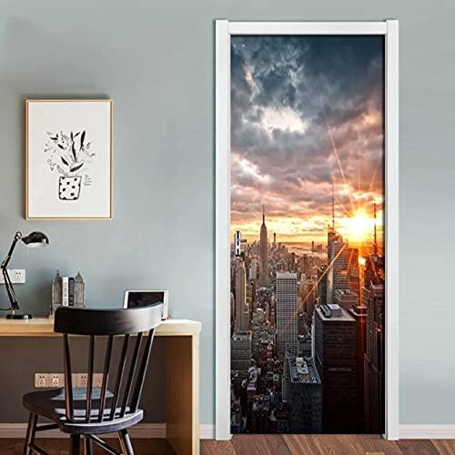 WISOEEP Arte del Paisaje de la Ciudad de Nueva York, Pegatina de Puerta 3D, Material de PVC, Cartel de Puerta Impermeable, calcomanía de Pared, Pegatina para decoración de Sala de Estar, decoración