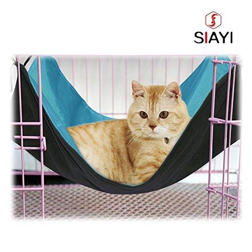 SIAYI(しあい)猫 ハンモック 猫 ハウス ペット用品 取り付け簡単 リバーシブル ナスカン付 バ ックル付 さわやか ふかふか 冬夏両用 猫 用 ハンモック 小動物用ペット用品 (ブルー)の写真