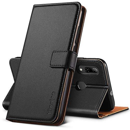 Hianjoo Hülle Kompatibel für Huawei P Smart 2019, Handyhülle Tasche Premium Leder Flip Wallet Hülle Kompatibel für Huawei Honor 10 Lite [Standfunktion/Kartenfächern/Magnetic Closure Snap],Schwarz