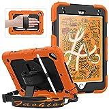 Funda iPad Mini 5, Funda iPad Mini 4, Funda Protectora de Cuerpo Completo a Prueba de caídas SEYMAC con Protector de Pantalla, Correa giratoria para la Mano, Naranja