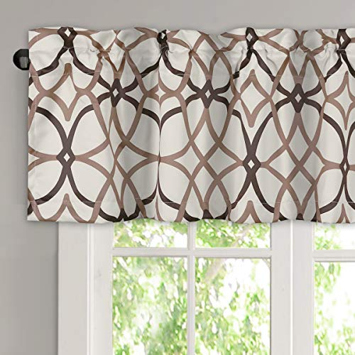 H.VERSAILTEX Blackout Curtain Valances for Kitchen/Bathroom - Thermal Insulated Window Valances for Living Room/Bedroom Rod Pocket Short Curtain 1 Panel, 52x18 inch, Geo in Taupe and Brown