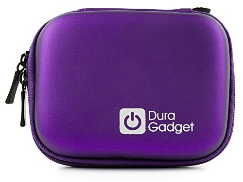 DURAGADGET Premium Quality Purple Hard EVA Shell Case with Carabiner Clip & Twin Zips - Compatible with The PowerLead Pcam PDC001 2.7 inch TFT LCD HD Mini Digital Camera