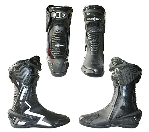 RIDE EAZY Motorcycle Riding Boots/Race Boots/Sports Bike Boots Black