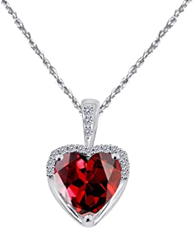MauliJewels 1.80Ct Ttw Adorable Diamond and Heart Shape Gemstone Pendant in 10K White Gold with 18'' Rope Chain