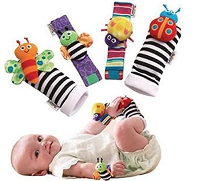 Blige SMTF Cute Animal Soft Baby Socks Toys Wrist Rattles and Foot Finders for Fun Butterflies and Lady bugs Set 4 pcs by Bigib