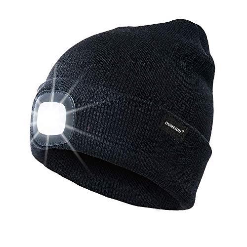 OMOUP 4 LED Stirnlampe Beanie Mütze, Winter warme Beanie Hut Hände frei beleuchtete Beanie Mütze mit (Schwarz)