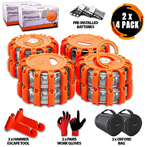 Promondi LED Road Flares Emergency Lights - Roadside Warning Car Safety Flare Kit for Vehicles & Marine Boat | Rescue Beacon Disc Pack with Discs & Window Hammer Seatbelt Cutter & Gloves & Bag