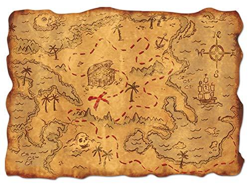 Beistle Plastic Treasure Maps-1 Pc Schatzkarte aus Kunststoff, Party-Zubehör, 1 Stück, Mehrfarbig, 12