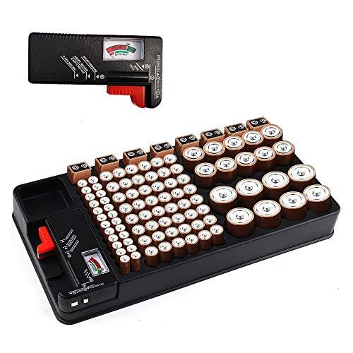 Organizzatore di Batteria per 110 slot per batterie di dimensioni diverse per batterie AAA, AA, 9V, C, D e pulsanti con tester batteria rimovibile di Makerfire