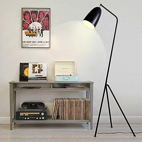 ELINKUME Stehleuchte Stativ Typ Modernes Design Schwarz Eisen Stehlampe Verstellbarer Lampenkopf Lesen Stehlampe E27 Base Perfekt für Studie/Schlafzimmer/Wohnzimmer/Nachttisch