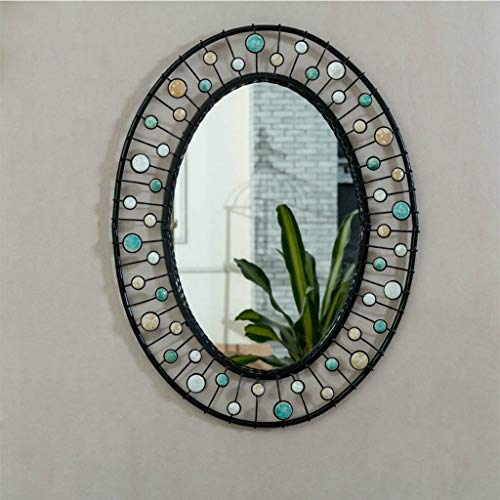 QXHELI spiegel - spiegel rond zwart ijzer Amerikaanse villa industriële spiegel wandspiegel eenvoudige badkamer ingang kunst spiegel bar decoratie welkom (kleur: brons)