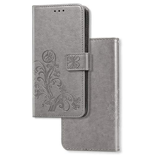 COTDINFOR Etui für Motorola Moto G7 Play Hülle PU Leder Cover Schutzhülle Magnet Tasche Flip Handytasche im Bookstyle Kartenfächer Lederhülle für Motorola Moto G7 Play(EU Version) Clover Gray SD