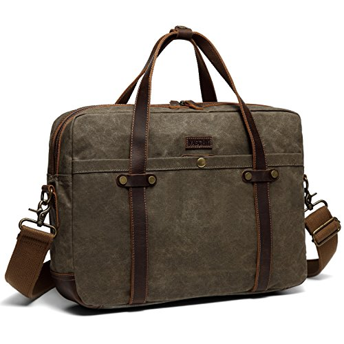 Leather Canvas Briefcase,Vaschy Vintage Water-Resistant Waxed Canvas Slim 15.6inch Laptop Messenger Bag for Business