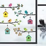 WandSticker4U®- Fensterbilder niedliche Vogel Familie I Baum Zweig 4x75cm I Fensterdeko Kinder Aufkleber selbstklebend I Fenstersticker Frühling Blumen I Wandtattoo Kinderzimmer Deko bunt