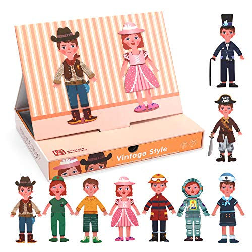 CUTE STONE 62 PCS Magnetic Dress Up Dolls Paper Magnet Dolls Wooden Puzzles for Toddlers, Gifts for 2 3 4 5 Year Old Boys and Girls