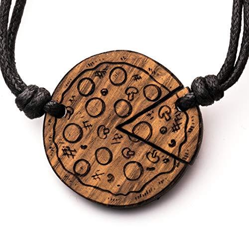 treeforce Pizza Pärchen Halskette, Schlüsselanhänger oder Auto- Anhänger 3in1 DIY Schmuck aus Kupfereiche