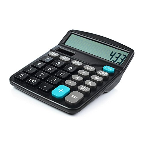 Calculator, Hi-tech Electronic Desktop Calculator with 12 Digit Large Display, LCD Display Office Calculator