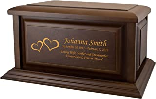 Perfect Memorials Custom Engraved Large Traditional Walnut Wood Cremation Urn