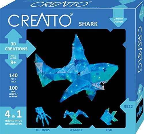 KOSMOS 03522 Creatto Hai, 3D-Leuchtfiguren entwerfen, Bastel Set für Hai,  Tintenfisch, Möwe oder Fisch, gestalte deine kreative Zimmer-Deko, 140  Steckteile, 100-teilige LED-Lichterkette, ab 9 Jahre