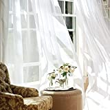 jinchan White Sheer Curtains 95 inches Long for Living Room Rod Pocket Drapes for Bedroom Voile Window Curtain Set 1 Pair White