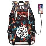 YOYOSHome Luminous Anime RWBY Cosplay Ruby Rose Bookbag Daypack Laptop Bag Backpack School Bag with USB Charging Port