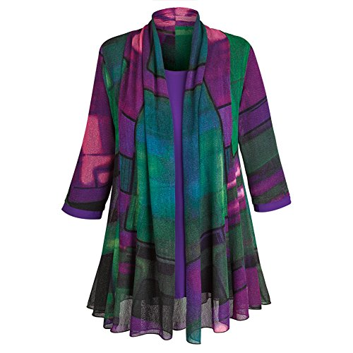 Women's Tunic Jacket - Purple Paradise Open Front Cardigan and Top - 2X