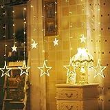 12 Sterne Lichterkette,138LED warmweiss Lichtervorhang weihnachtslichter Sternenvorhang 8 Modi mit Fernbedienung Innen Außen Sterne Vorhang Lichter Für Weihnachten,Party,Hochzeit,Garten, Balkon, Deko - 6