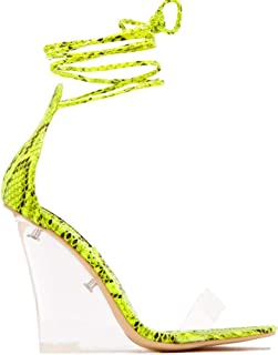 Women Sandals with Clear Wedge Heeled Fashion Sandal Lace Up Transparent Perspex Heeled Ladies Sandals Square Toe Thinking Out Loud Sandal Yellow Color