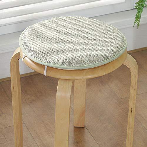 Rond zitkussen met anti-slip print, eetkamerstoel, gevoerd, voor buiten, van rotan-spons, decoratie voor thuis, vloerkussens van zijde, eenvoudig, 1P-groen-rotan diameter 40 cm