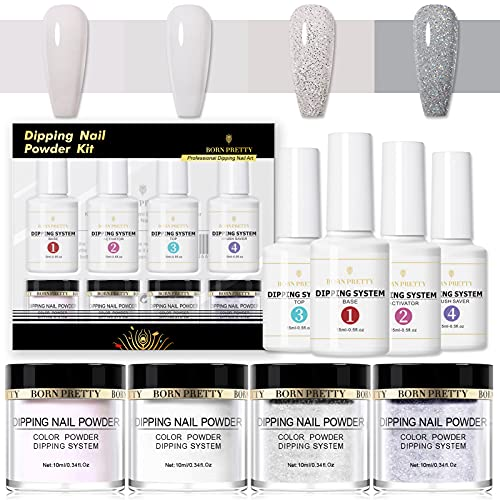 BORN PRETTY Kit De Démarrage Système De Trempage Dipping Powder Starter Kit with Acrylic Powder and Gel Resin, Easy to Use French Dip Powders Nail Color System UV/LED Light Free