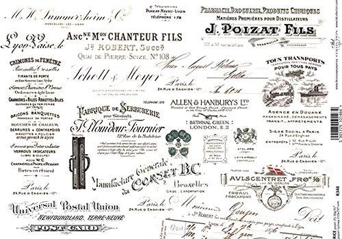 Frl.Erna - Reispapier, Decoupagepapier, Motivpapier, Strohseide, Papier, R0348 * Anzeigen, Schriften