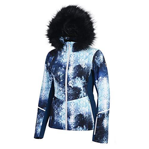 Dare 2b Iceglaze Damen Skijacke mit Kapuze und abnehmbarem Schneefang und Kopfhöreranschluss, wasserdicht XXL Blau (Blue Wing)