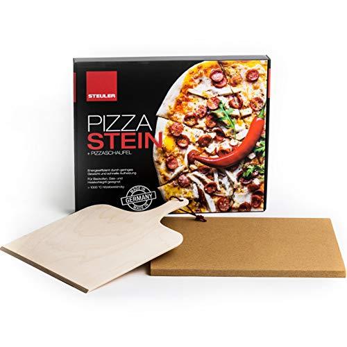 STEULER Pizzastein 38x30 cm rechteckig | Ultraleicht Cordierit | Made in Germany | für Backofen und Grill | inklusive Pizzaschaufel
